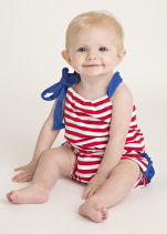 Royal Blue and Red Knit Girl's Ruffle Romper