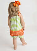 Green and Orange Knit Girl's Ruffle Romper