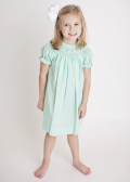 Hand Smocked Geometric Mint Pin Dots Bishop Dress