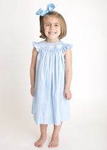 Hand Smocked Sea Shells Light Blue Girl's Bishop Dress