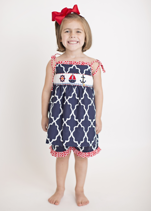 Hand Smocked Nautical Girl's Short Set