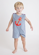 Applique Anchor Blue Gingham Boy's Overall