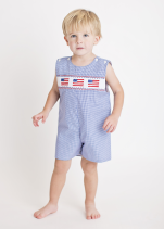 Hand Smocked Flags Blue Boy's Overall