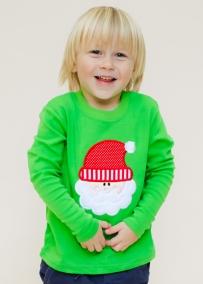Boy's Green Knit Long Sleeve Holiday Shirt