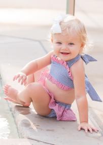 Girl's Lavender Seersucker 2 Piece Swimsuit