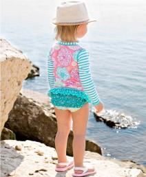 Girl's Tropical Garden Rash Guard Swimsuit